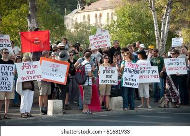 EAST JERUSALEM - SEPTEMBER 24: Activists protest Israeli settlements in the Arab East Jerusalem neighborhood of Sheikh Jarrah on Sept. 24, 2010 in East Jerusalem.