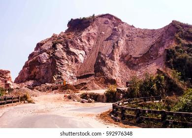 East Khasi Hills District,Meghalaya, India -  25.Feb 2017: Environmental Destruction caused by human activities.