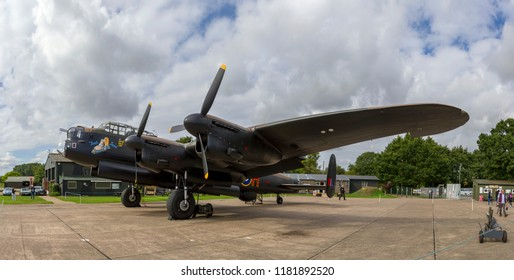 EAST KIRKBY, LINCOLNSHIRE, UK – SEPTEMBER 15, 2018: Avro Lancaster B Mark VII NX611 'Just Jane' on display at the Lincolnshire Aviation Heritage Centre, with efforts underway to return her to flight.