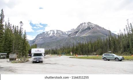 East Kootenay/British Columbia/Canada - Jun 02 2018: Partial view at Marble Canyon entrance in East Kootenay, Canada