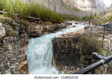 East Kootenay/British Columbia/Canada - Jun 02 2018: Second Partial view of the water falls of Marble Canyon