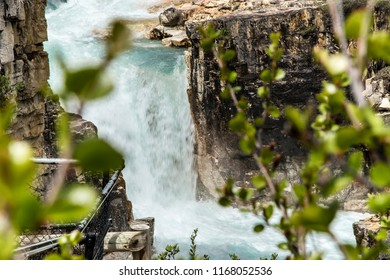East Kootenay/British Columbia/Canada - Jun 02 2018: Fourth Partial view of the water falls of Marble Canyon