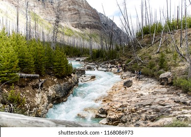 East Kootenay/British Columbia/Canada - Jun 02 2018: Partial view of the Vermilion River in the middle of Marble Canyon