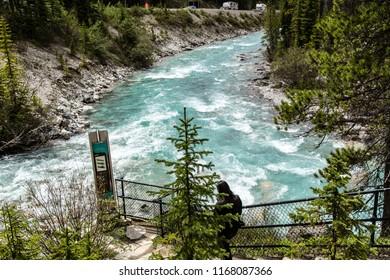 East Kootenay/British Columbia/Canada - Jun 02 2018: View river at Marble Canyon
