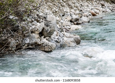 East Kootenay/British Columbia/Canada - Jun 02 2018: Water cascade on the Vermilion River