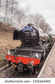 East lancashire railway, Bury, Lancashire, UK. 1st April 2018. The Flying Scotsman parked with engines running at Bury Station on the East Lancashire Railway, Bury, Lancashire, UK