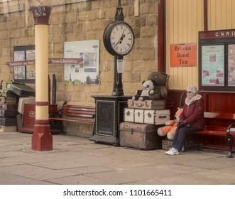 East lancashire railway, Bury, Lancashire, UK. 1st April 2018. Visitors to Bury Station on the East Lancashire Railway, Bury, Lancashire, UK