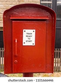 East lancashire railway, Bury, Lancashire, UK. 1st April 2018. One of the original phone signalman boxes at Bury Station on the East Lancashire Railway, Bury, Lancashire, UK