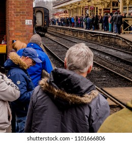 East lancashire railway, Bury, Lancashire, UK. 1st April 2018. Visitors to Bury Station awaiting the arrival of the 100mph Tornado steam train on the East Lancashire Railway, Bury, Lancashire, UK