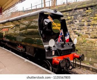 East lancashire railway, Bury, Lancashire, UK. March 2018. Golden arrow engine at East lancashire railway, Bury, Lancashire, UK