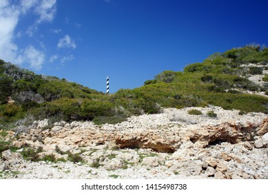 East of the lighthouse Punta des Moscarter, begins a desert plateau Punta Del Gost, composed of old volcanic rocks.Ibiza Island.Spain.