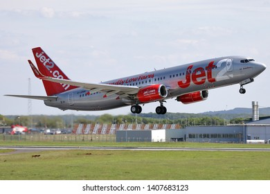 East Midlands Airport, England, 23rd May 2019. Jet2 aircarft G-JZHH a Boeing 737 85P takes off from the airport.