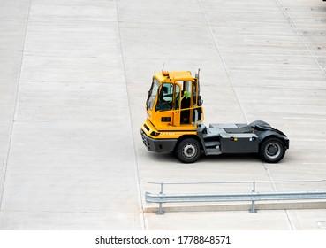 East Midlands,UK 07/21/2020 Shunting vehicle at a cargo loading facility