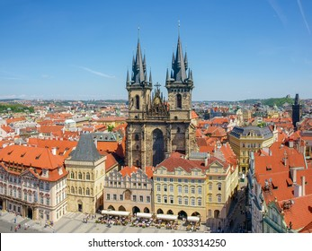 East part of the Old Town Square and Church of Our Lady before Tyn in Prague. View from the Old Town City Hall