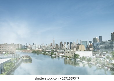 East River and Manhattan skyline on a beautiful summer day, New York City.
