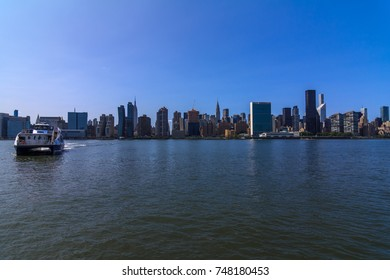 EAST RIVER, NY (8/26/2017) - View of Manhattan from NYC Ferry.