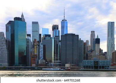 The East River with skyline behind in Lower Manhattan