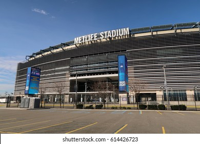 EAST RUTHERFORD, NEW JERSEY - MARCH 30, 2017: MetLife Stadium. Exterior view of MetLife Stadium and parking lot A. Editorial use only.