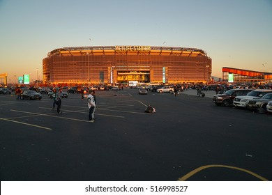 East Rutherford, New Jersey - November 2016: Metlife Stadium at sunset golden hour before New York Jets football game as fans tailgate before enter arena