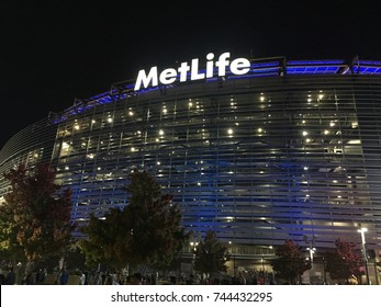 EAST RUTHERFORD, NEW JERSEY - OCTOBER 22 , 2017: MetLife Stadium exterior view at night NX - home for New York Giants and Jets. Eli Manning, Odell Beckham Jr. play here.