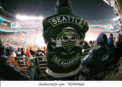 East Rutherford, New Jersey / USA - Feb. 2, 2014: A fan at Super Bowl XLVIII at MetLife Stadium in East Rutherford, New Jersey on Feb. 2, 2014. The Seattle Seahawks defeated the Denver Broncos 43-8.