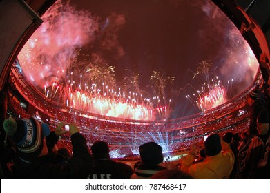 East Rutherford, New Jersey / USA - Feb. 2, 2014: Fireworks go off at the end of the Super Bowl XLVIII halftime show at MetLife Stadium in East Rutherford, N.J. Feb. 2, 2014. Seattle defeated Denver.