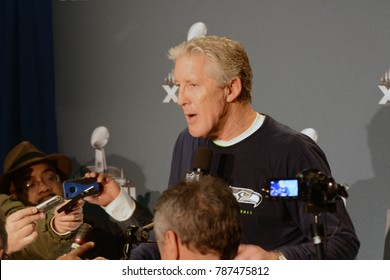 East Rutherford, New Jersey / USA - Feb. 2, 2014: Seattle Seahawks Head Coach Pete Carroll during Super Bowl XLVIII postgame press conferences at MetLife Stadium in East Rutherford, New Jersey.