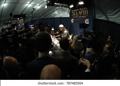 East Rutherford, New Jersey / USA - Feb. 2, 2014: Richard Sherman, of the Seattle Seahawks, at Super Bowl XLVIII postgame press conferences at MetLife Stadium in East Rutherford, N.J. Feb. 2, 2014.