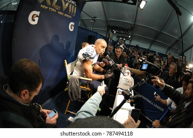East Rutherford, New Jersey / USA - Feb. 2, 2014: Doug Baldwin, of the Seattle Seahawks, during Super Bowl XLVIII postgame press conferences at MetLife Stadium in East Rutherford, N.J. Feb. 2, 2014.