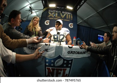 East Rutherford, New Jersey / USA - Feb. 2, 2014: Brandon Mebane, of the Seattle Seahawks, during Super Bowl XLVIII postgame press conferences at MetLife Stadium in East Rutherford, N.J. Feb. 2, 2014.