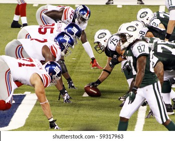EAST RUTHERFORD, NJ - AUGUST 16: New York Jets players play against the New York Giants at MetLife Stadium on August 16, 2010 in East Rutherford, New Jersey.