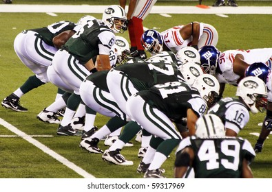 EAST RUTHERFORD, NJ - AUGUST 16: New York Jets Quarterback Mark Sanchez in action against the New York Giants at MetLife stadium on August 16, 2010 in East Rutherford, New Jersey.