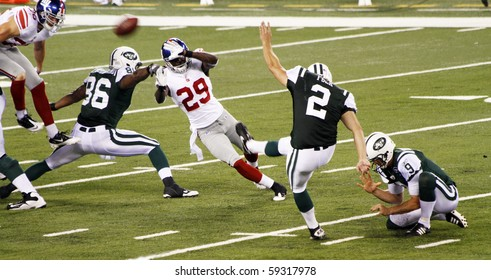 EAST RUTHERFORD, NJ - AUGUST 16: New York Jets Kicker Nick Folk in action against the New York Giants at MetLife stadium on August 16, 2010 in East Rutherford, New Jersey.