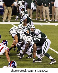 EAST RUTHERFORD, NJ - AUGUST 16: New York Jets Quarterback Kellen Clemens in action against the New York Giants at MetLife stadium on August 16, 2010 in East Rutherford, New Jersey.