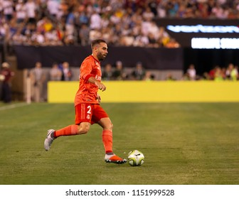 East Rutherford, NJ - August 7, 2018: Daniel Carvajal (2) of Real Madrid controls ball during ICC game against AS Roma at MetLife stadium Real won 2 - 1