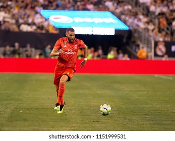 East Rutherford, NJ - August 7, 2018: Karim Benzema (9) of Real Madrid controls ball during ICC game against AS Roma at MetLife stadium Real won 2 - 1
