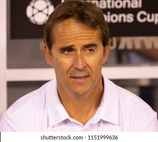 East Rutherford, NJ - August 7, 2018: Head coach Julien Lopedegui of Real Madrid attends ICC game against AS Roma at MetLife stadium Real won 2 - 1