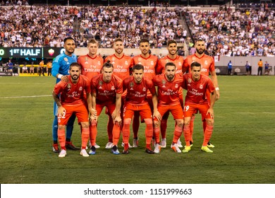 East Rutherford, NJ - August 7, 2018: Real Madrid starting eleven pose before ICC game against AS Roma at MetLife stadium Real won 2 - 1