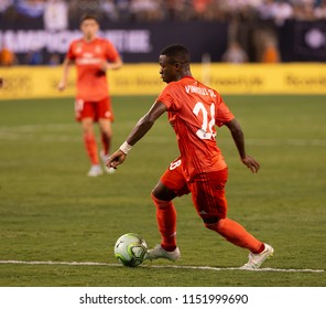 East Rutherford, NJ - August 7, 2018: Vinicius Junior (28) of Real Madrid controls ball during ICC game against AS Roma at MetLife stadium Real won 2 - 1