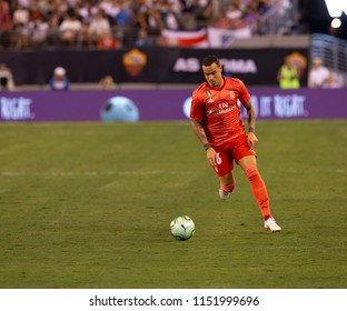 East Rutherford, NJ - August 7, 2018: Raul de Tomas (26) of Real Madrid controls ball during ICC game against AS Roma at MetLife stadium Real won 2 - 1
