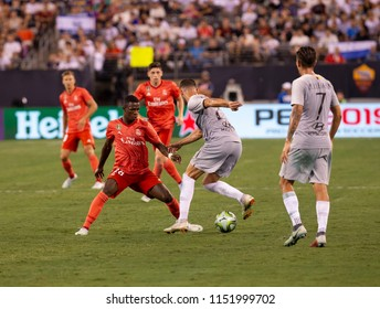 East Rutherford, NJ - August 7, 2018: Maxime Gonalons (21) of AS Roma controls ball during ICC game against Real Madrid at MetLife stadium Real won 2 - 1