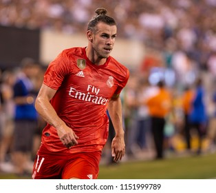 East Rutherford, NJ - August 7, 2018: Gareth Bale (11) of Real Madrid controls ball during ICC game against AS Roma at MetLife stadium Real won 2 - 1