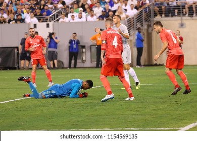 EAST RUTHERFORD, NJ - AUGUST 7, 2018: Goalkeeper Keylor Navas of Real Madrid #1  in action against Roma in the 2018 International Champions Cup match at MetLife stadium. Real Madrid won 2-1
