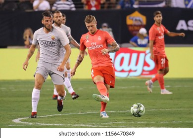 EAST RUTHERFORD, NJ - AUGUST 7, 2018: Toni Kroos of Real Madrid #8 in action during the 2018 International Champions Cup match against Roma at MetLife stadium. Real Madrid won 2-1