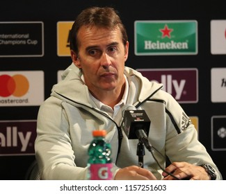 EAST RUTHERFORD, NJ - AUGUST 7, 2018: Julen Lopetegui manager of Real Madrid during press conference after 2018 International Champions Cup game Real Madrid vs Roma at MetLife stadium