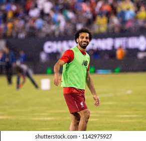 East Rutherford, NJ - July 25, 2018: Mohammed Salah of Liverpool FC warming up during ICC game against Manchester City at MetLife stadium Liverpool won 2 - 1
