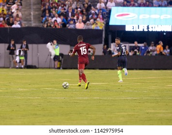 East Rutherford, NJ - July 25, 2018: Daniel Sturridge (15) of Liverpool FC controls ball during ICC game against Manchester City at MetLife stadium Liverpool won 2 - 1