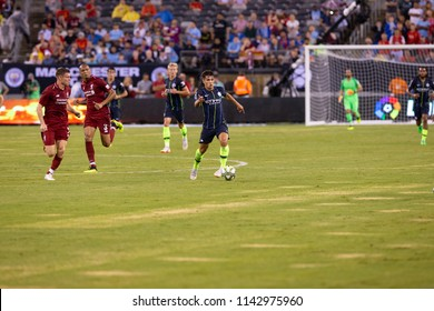 East Rutherford, NJ - July 25, 2018: Brahim Diaz (55) of Manchester City in action during ICC game against Liverpool FC at MetLife stadium Liverpool won 2 - 1