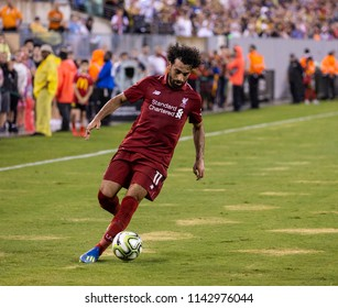 East Rutherford, NJ - July 25, 2018: Mohammed Salah (11) of Liverpool FC controls ball during ICC game against Manchester City at MetLife stadium Liverpool won 2 - 1
