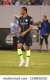 EAST RUTHERFORD, NJ - JULY 25, 2018: Leroy Sane of Manchester City in action against Liverpool FC during 2018 International Champions Cup game at MetLife stadium